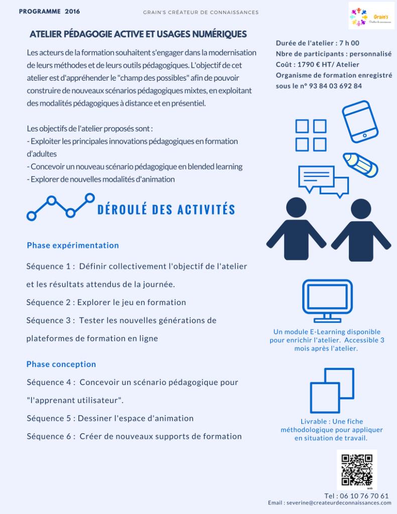 Atelier Pédagogie active et usages numériques